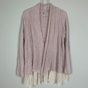 Knitted & Knotted Pink Cardigan Sweater Size M